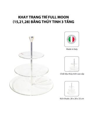 Khay trang trí thủy tinh 3 tầng Vidivi FULL MOON - 67054