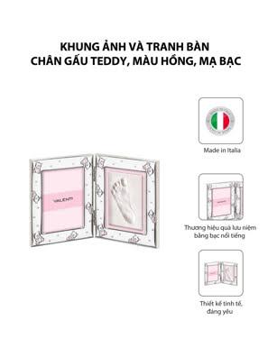 Khung ảnh và tranh bàn chân gấu Teddy,màu hồng-xanh,kích thước 9x13 mạ bạc hiệu VALENTI  - 731403LRA