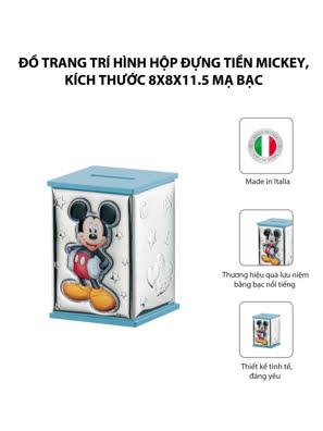 Đồ trang trí hình Hộp đựng tiền Mickey,kích thước 8*8*11.5 mạ bạc hiệu VALENTI  - D298C