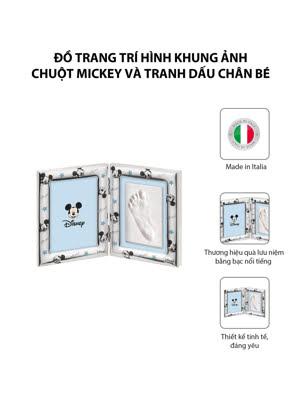 Đồ trang trí hình khung ảnh Chuột Mickey và tranh dấu chân bé mạ bạc hiệu VALENTI  - D4203LC